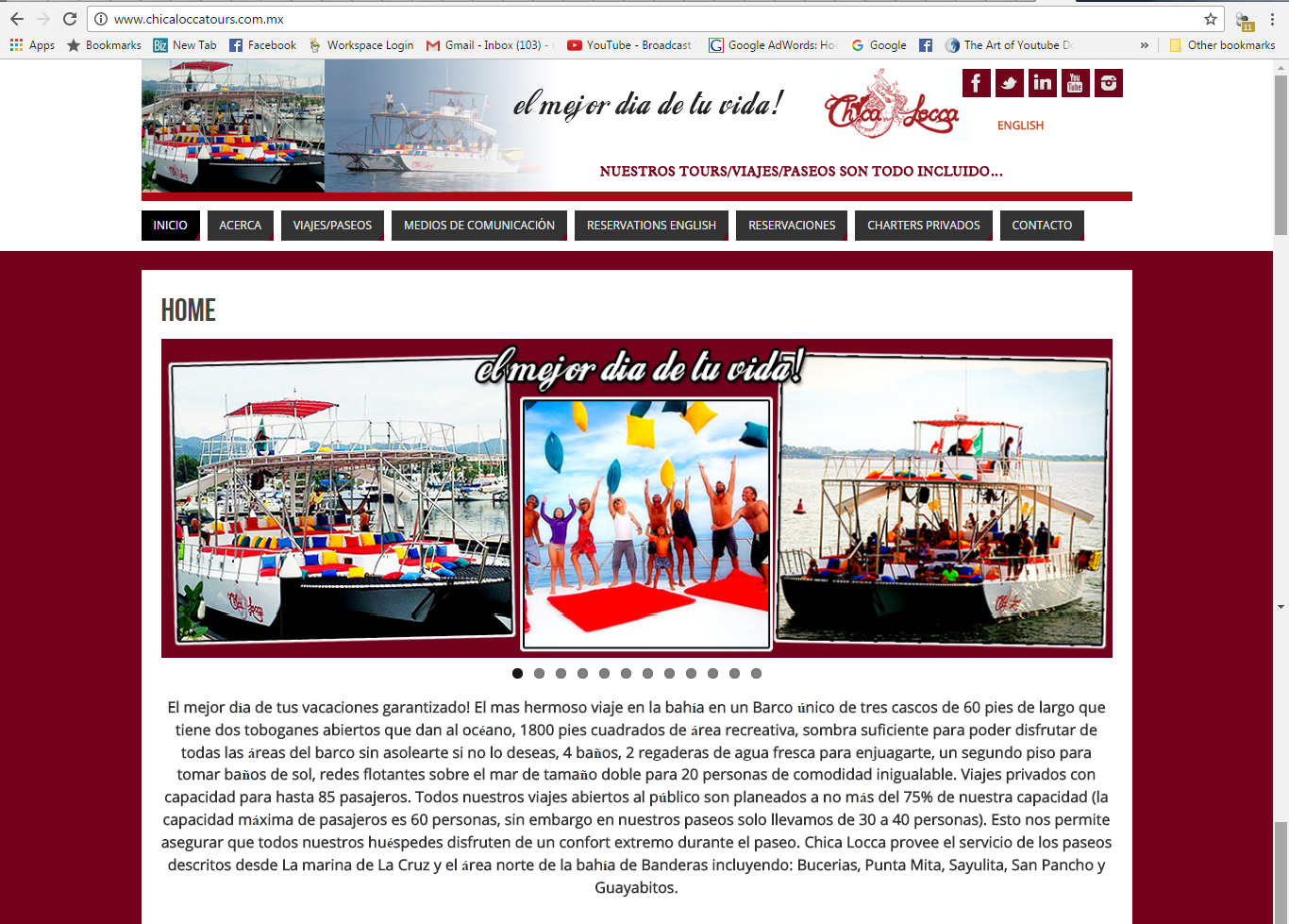Chica Locca Tours Website Design - Spanish